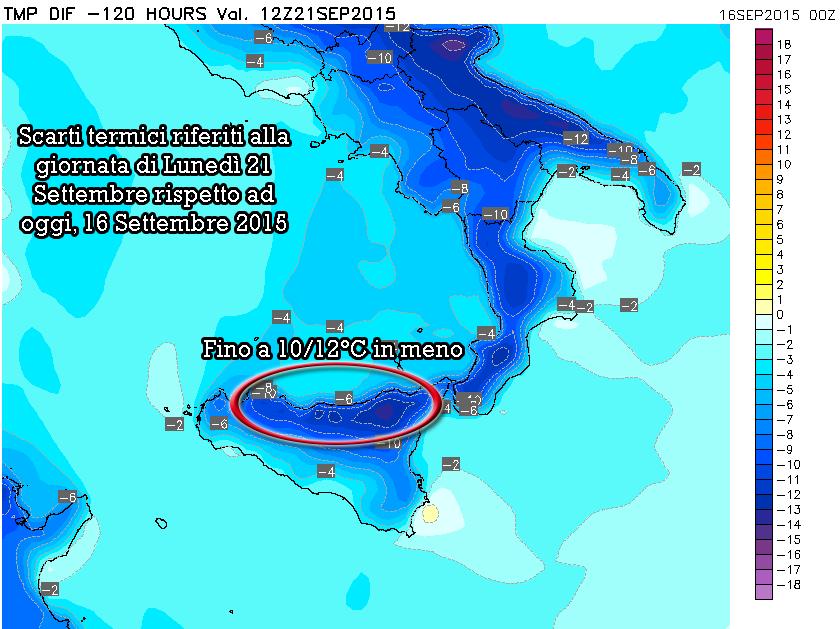 Scarti termici previsti nella giornata di Lunedì 21 Settembre rispetto alla giornata odierna