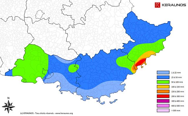 Gli accumuli di pioggia ricostruiti nella mappa da www.keraunos.org