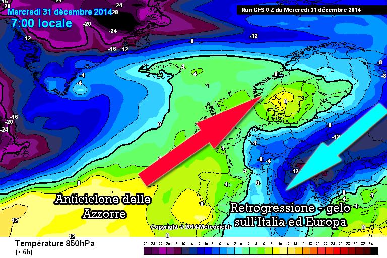Intrusione dell'Alta pressione delle Azzorre sul Vortice Polare