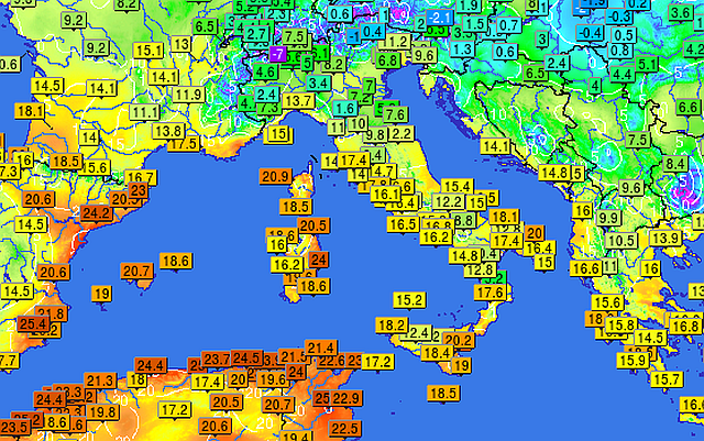 Temperature massime raggiunte l'8 Gennaio 2016 Fonte: infoclimat.fr.