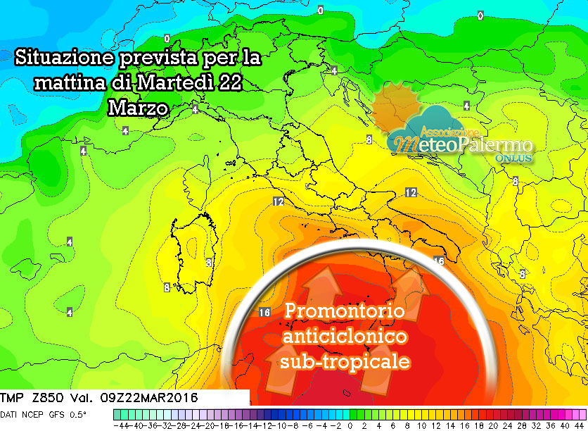 Modello GFS: carta a quota 850 hPa