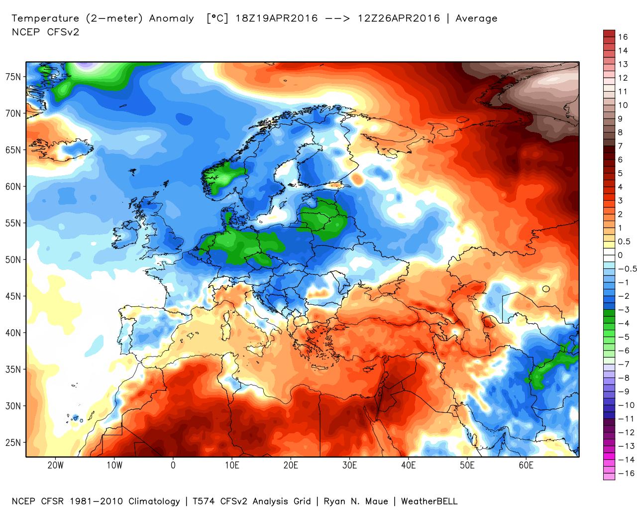 Anomalie termiche calcolate fra il 19 e il 26 Aprile 2016