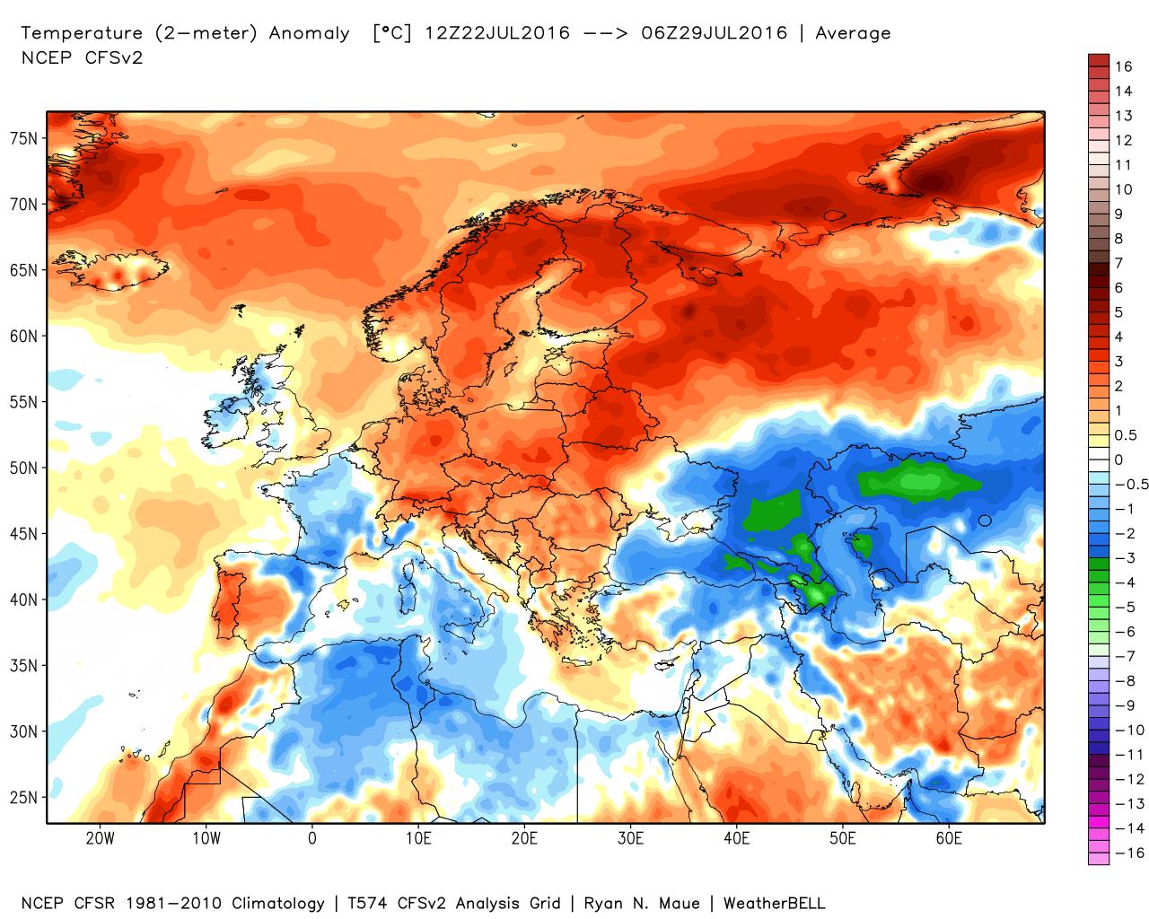 Anomalie temperature al suolo registrate nei giorni compresi fra il 22 e il 29 Luglio 2016