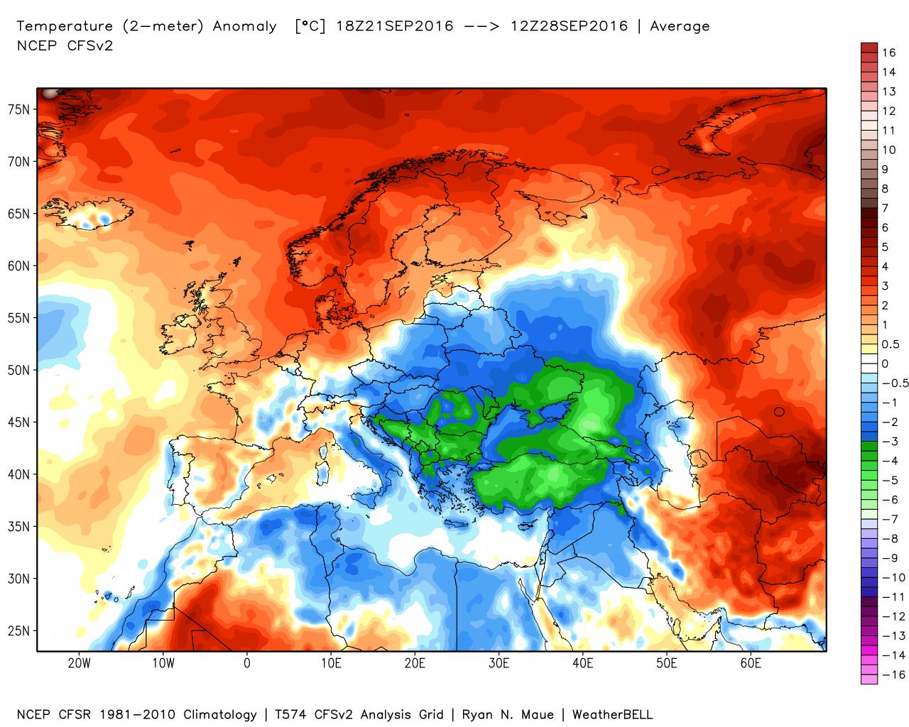 Anomalie termiche registrate in Europa negli ultimi 7 giorni