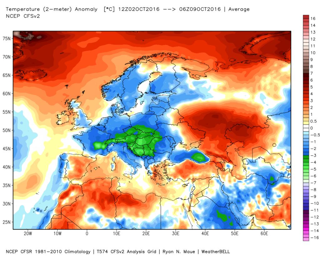 Anomalie termiche registrate nel periodo che va dal 2 all'8 Ottobre 2016