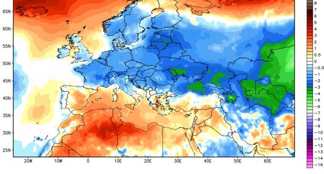 Anomalie termiche registrate nel mese di Ottobre. Modello CFSv2