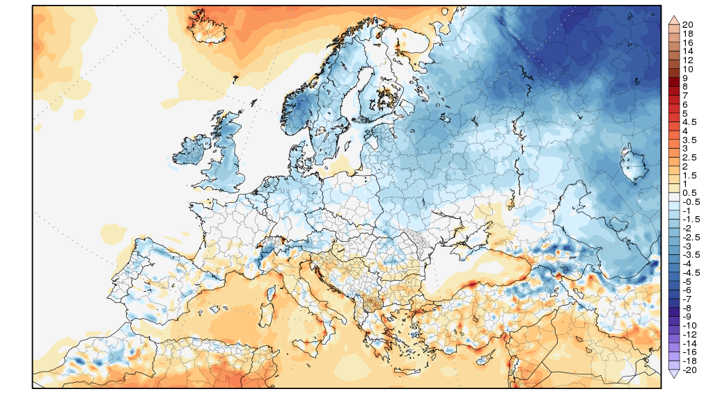 Anomalie termiche al suolo registrate nel mese di Novembre