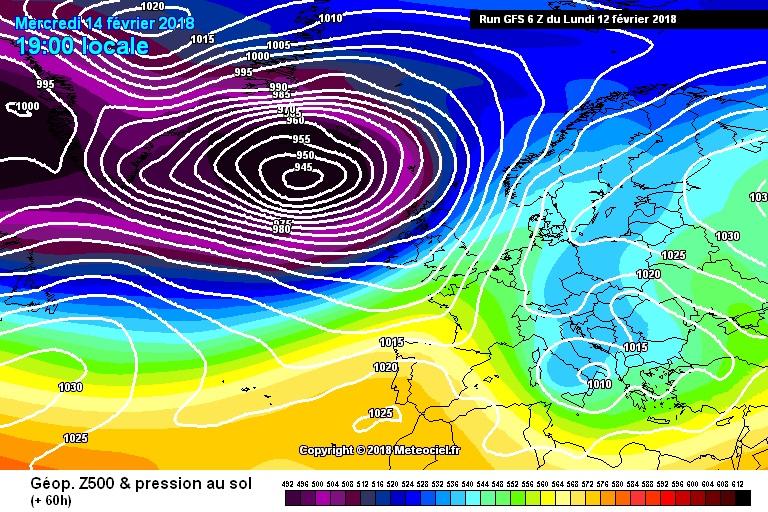 La carta sinottica per la giornata di Mercoledì evidenzia la fase finale dell'ondata fredda.
