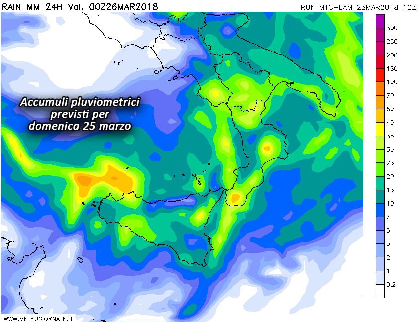piogge domenica 25 marzo