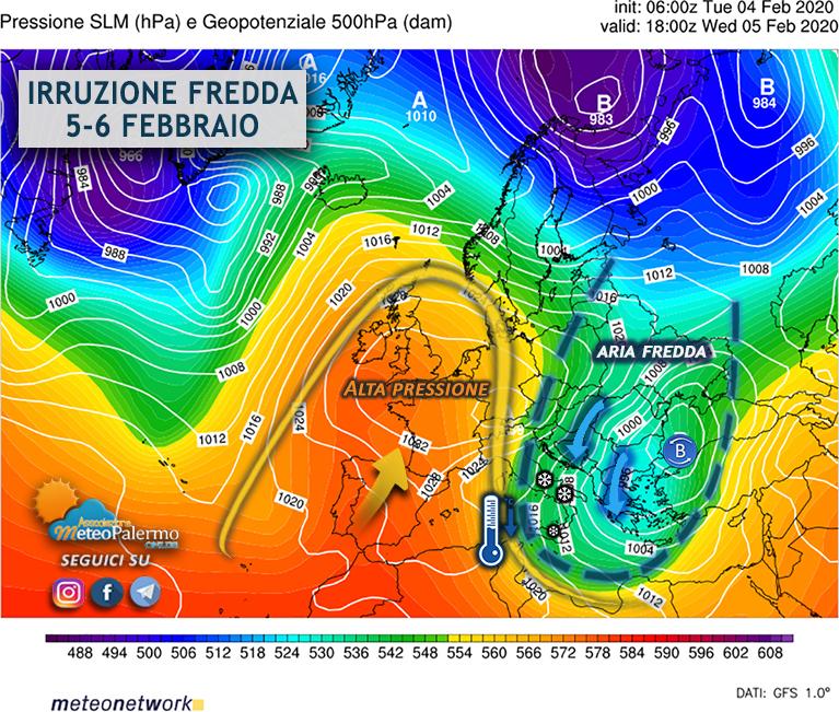 5-6 febbraio mappa 500hpa